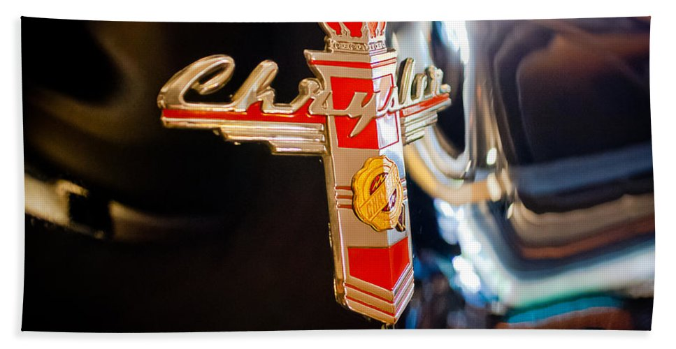 1947 Chrysler New Yorker Town & Country Convertible Beach Towel featuring the photograph 1947 Chrysler New Yorker Town And Country Convertible Emblem by Jill Reger
