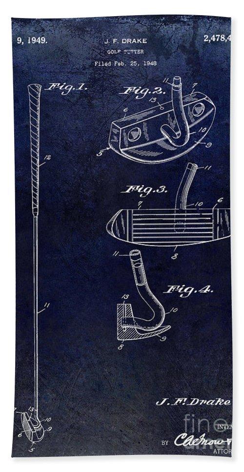 1949 Beach Towel featuring the photograph 1949 Golf Putter Patent Drawing Blue by Jon Neidert