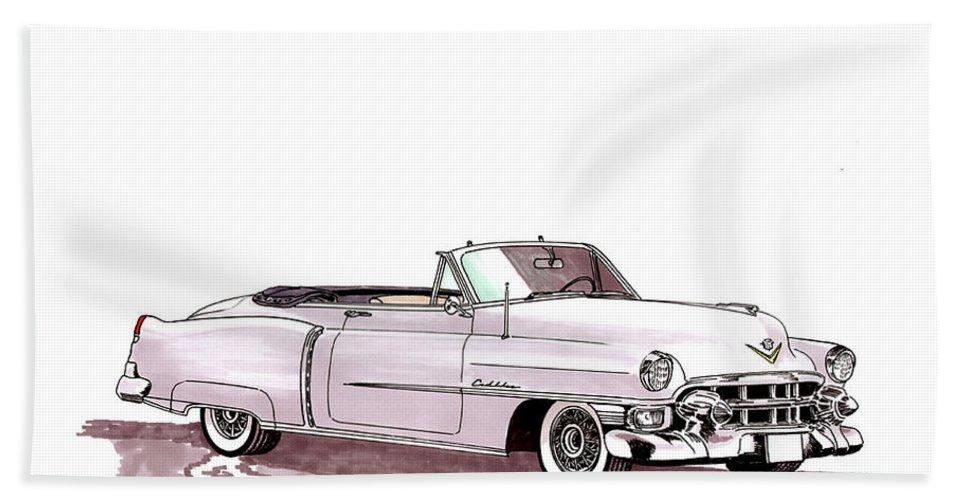 Classic Car Paintings Beach Towel featuring the painting 1953 Cadillac El Dorado by Jack Pumphrey