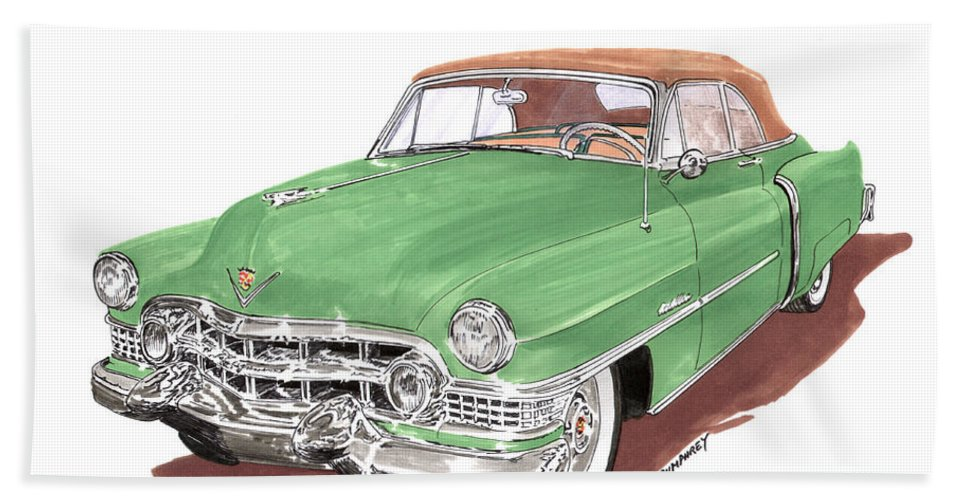 Classic Car Paintings Beach Towel featuring the painting 1951 Cadillac Series 62 Convertible by Jack Pumphrey
