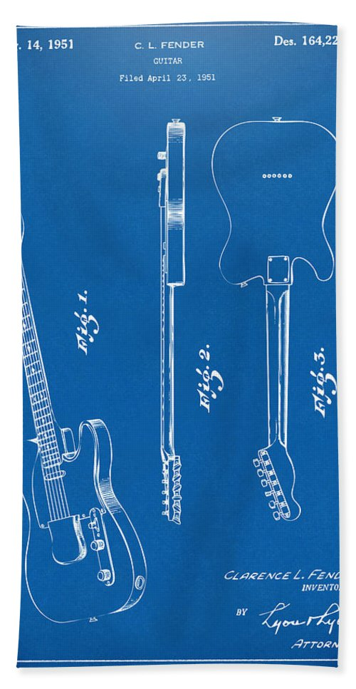 Fender Guitar Beach Towel featuring the drawing 1951 Fender Electric Guitar Patent Artwork - Blueprint by Nikki Marie Smith