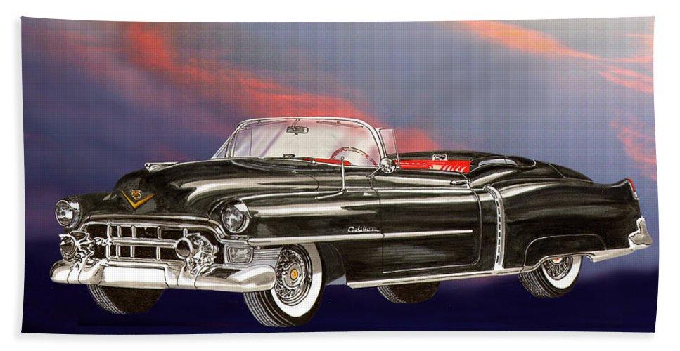 Jclassic Car Paintings Beach Towel featuring the painting 1953 Cadillac El Dorardo Convertible by Jack Pumphrey