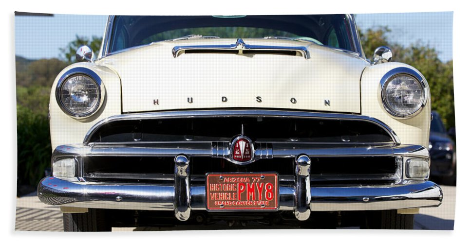 1954 Hudson Hornet Framed Prints Beach Towel featuring the photograph 1954 Hudson Hornet by Brooke Roby
