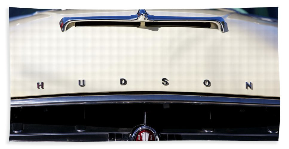 1954 Hudson Hornet Framed Prints Beach Towel featuring the photograph 1954 Hudson Hornet Grill by Brooke Roby