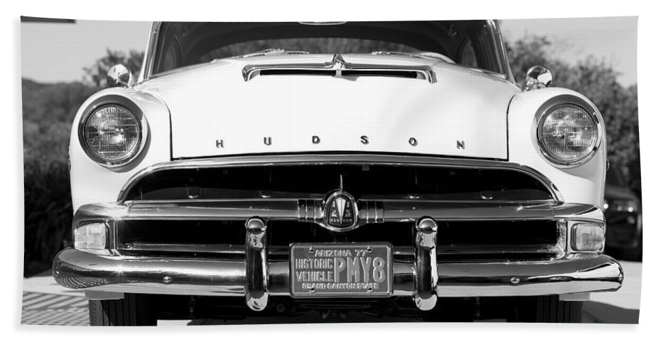 1954 Hudson Hornet Framed Prints Beach Towel featuring the photograph 1954 Hudson Hornet In Black by Brooke Roby