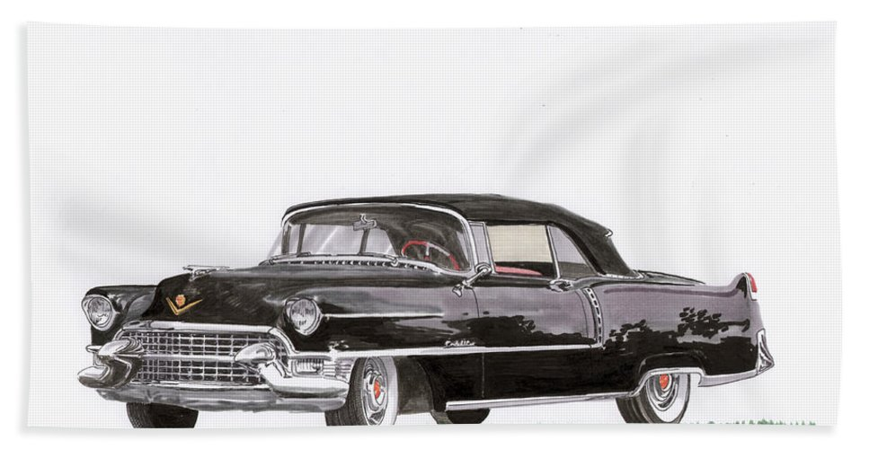 Classic Car Paintings Beach Towel featuring the painting 1955 Cadillac Series 62 Convertible by Jack Pumphrey