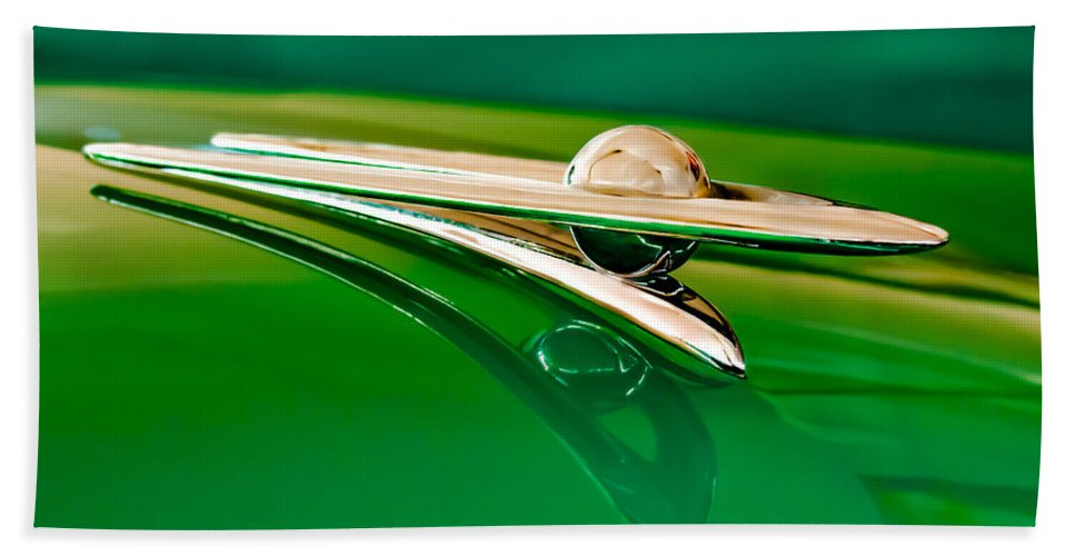 1955 Packard Clipper Custom Sedan Beach Towel featuring the photograph 1955 Packard Clipper Hood Ornament 3 by Jill Reger