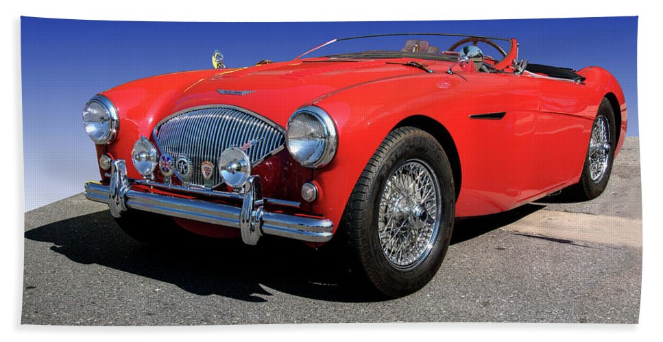 1956 Beach Towel featuring the photograph 1956 Austin Healey by Paul Cannon