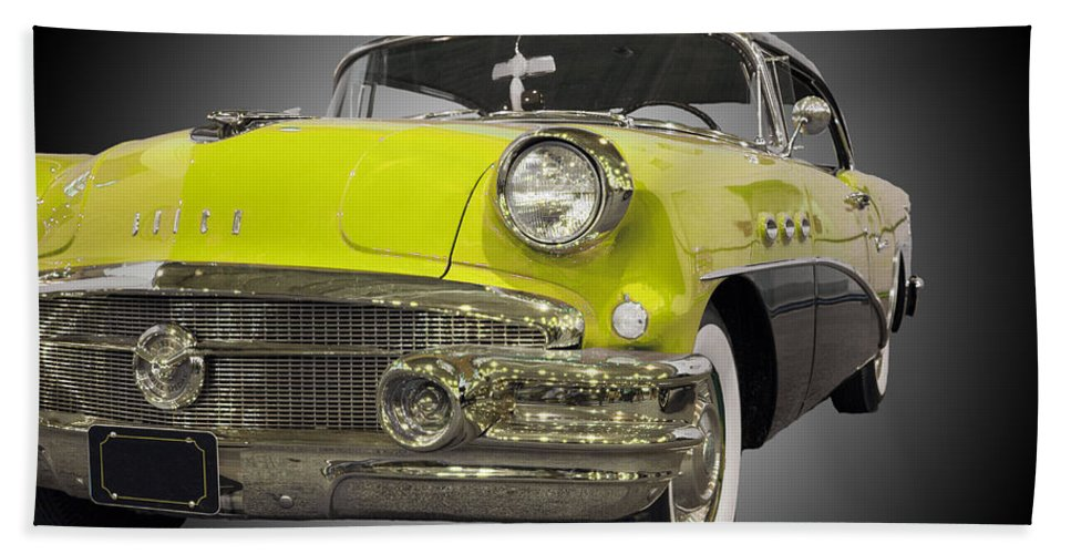 1957 Buick Special Riviera Coupe Beach Towel featuring the photograph 1956 Buick Special Riviera Coupe-yellow by Michael Porchik