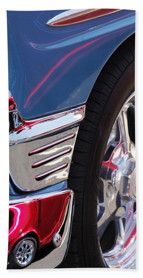 1956 Chevrolet Handyman Wagon Wheel Beach Towel featuring the photograph 1956 Chevrolet Handyman Wagon Wheel -179c by Jill Reger