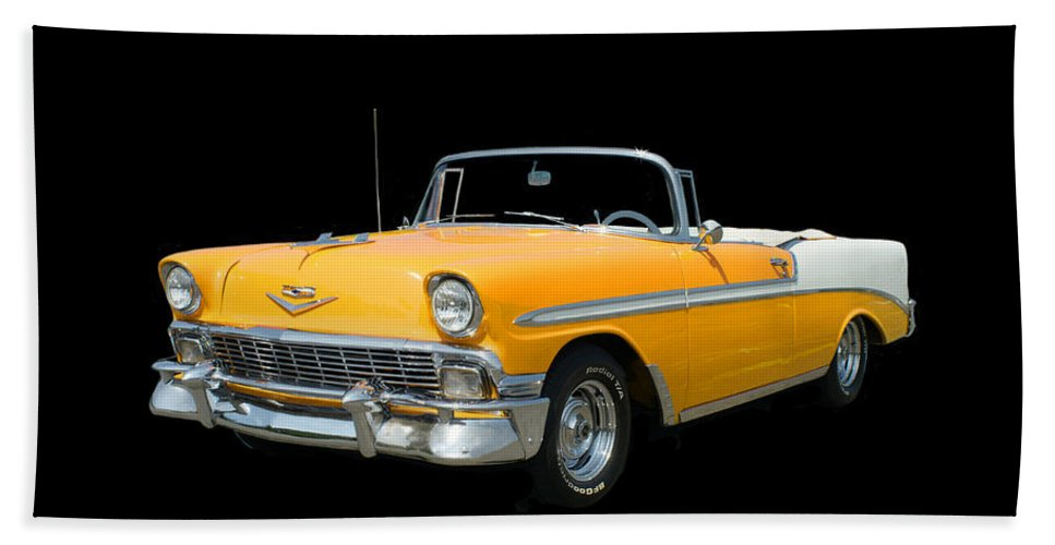 Another Jack Pumphrey Photograph Of A 1956 Chevy Bel Air Convertible Beach Towel featuring the photograph 1956 Chevy Bel Air Convertible by Jack Pumphrey