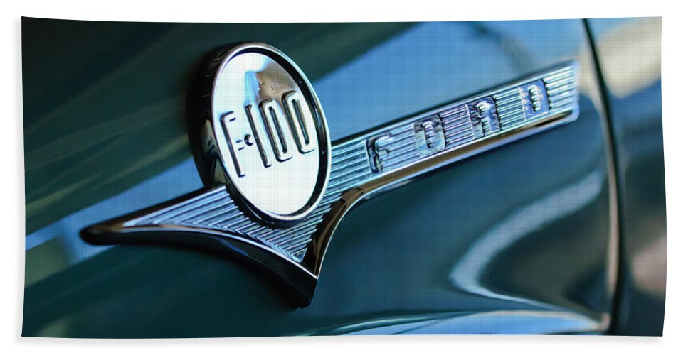 1956 Ford F-100 Truck Beach Towel featuring the photograph 1956 Ford F-100 Truck Emblem by Jill Reger