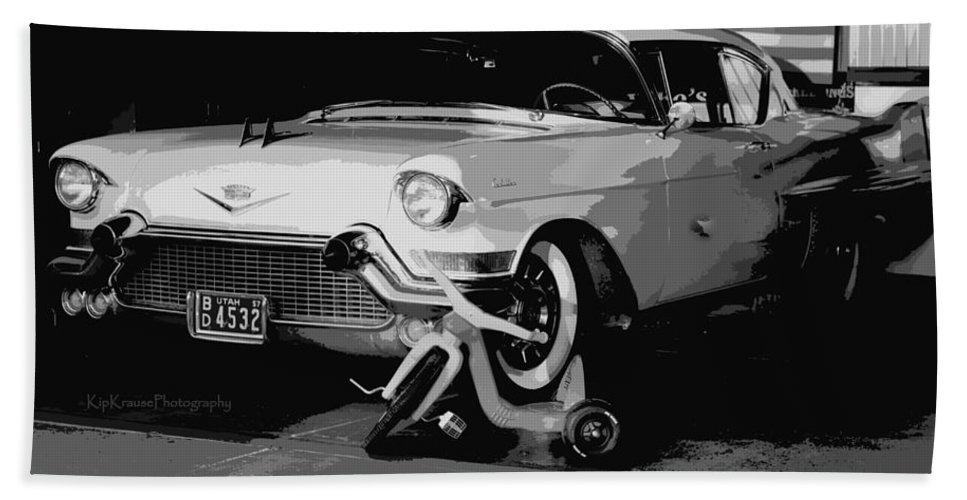 57 Beach Towel featuring the photograph 1957 Cadillac by Kip Krause