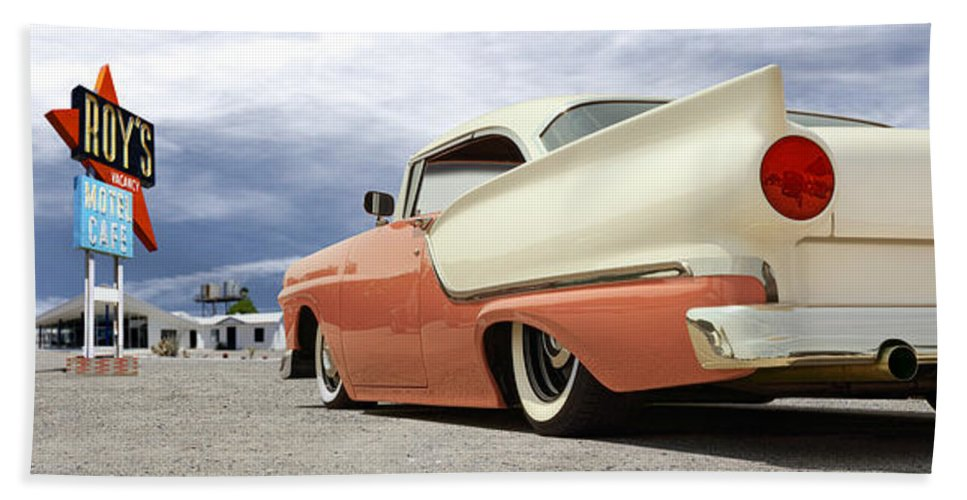 1957 Ford Beach Towel featuring the photograph 1957 Ford Fairlane Lowrider by Mike McGlothlen