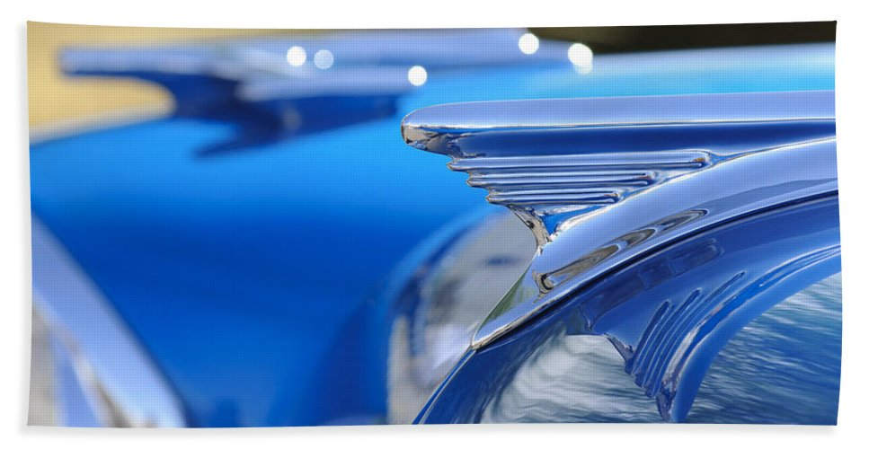 1957 Oldsmobile Beach Towel featuring the photograph 1957 Oldsmobile Hood Ornament 3 by Jill Reger
