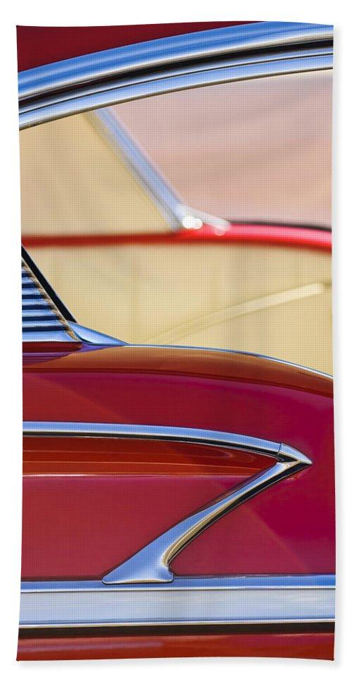 1958 Chevrolet Belair Beach Towel featuring the photograph 1958 Chevrolet Belair Abstract by Jill Reger