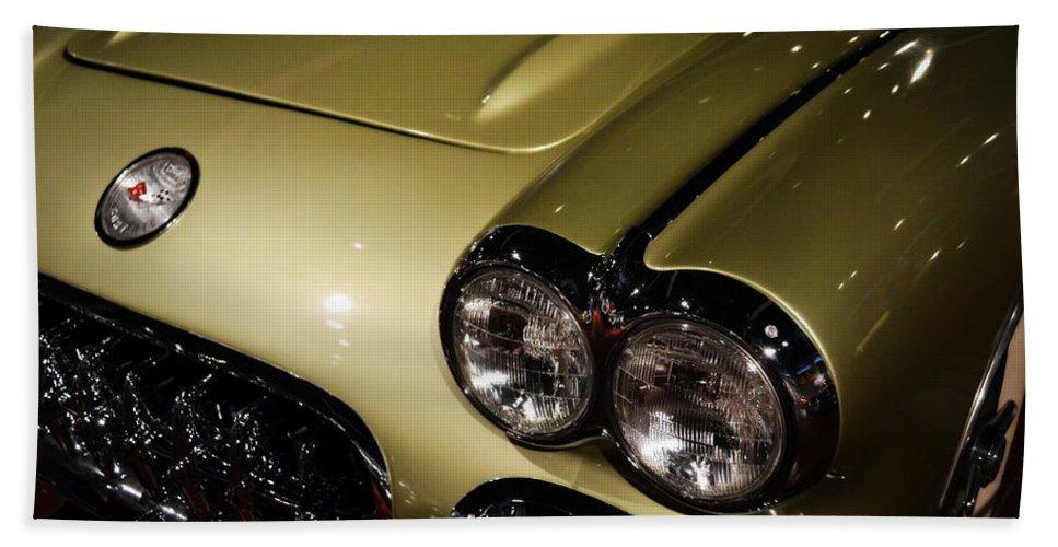 Corvette Beach Towel featuring the photograph 1958 Fancy Free Corvette J58s by Michelle Calkins