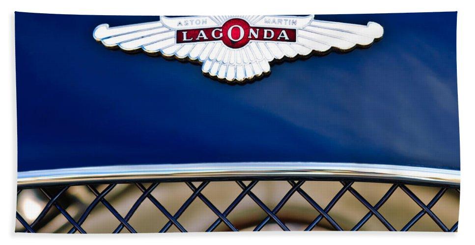 Lagonda Beach Towel featuring the photograph 1959 Aston Martin Jaguar C-type Roadster Hood Emblem by Jill Reger