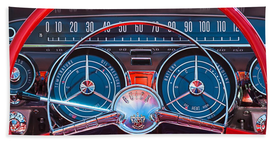 Car Beach Towel featuring the photograph 1959 Buick Lesabre Steering Wheel by Jill Reger