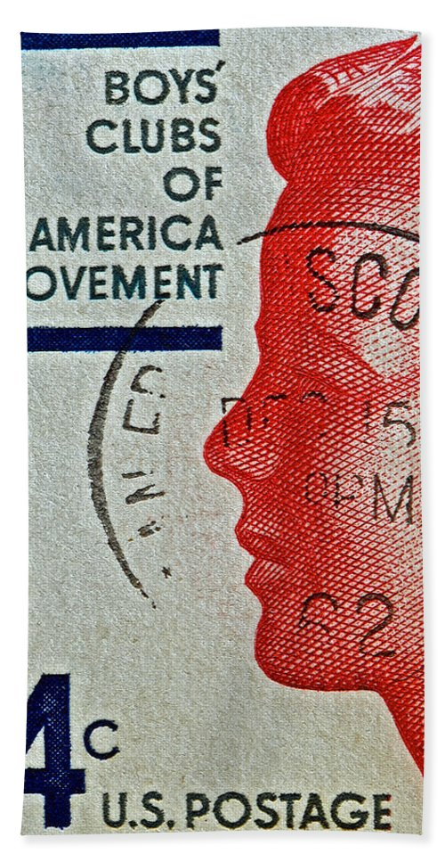 1960 Beach Towel featuring the photograph 1960 Boys' Clubs Of America Movement Stamp by Bill Owen