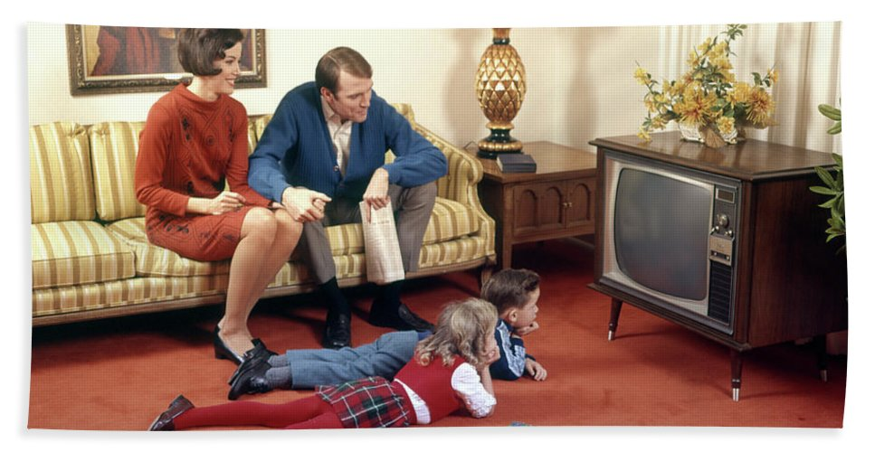 1960s Family In Living Room Watching Tv Beach Towel