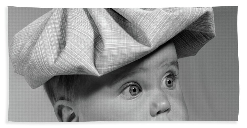 Photography Beach Towel featuring the photograph 1960s Portrait Baby Wide-eyed by Vintage Images