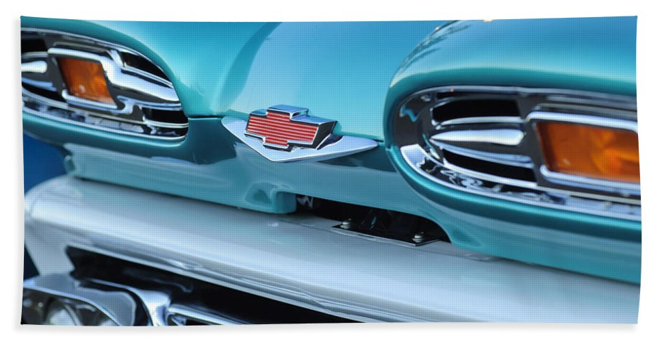 1961 Chevrolet Beach Towel featuring the photograph 1961 Chevrolet Headlights by Jill Reger