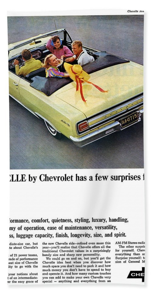 1965 Beach Towel featuring the digital art 1965 Chevelle Convertible by Digital Repro Depot