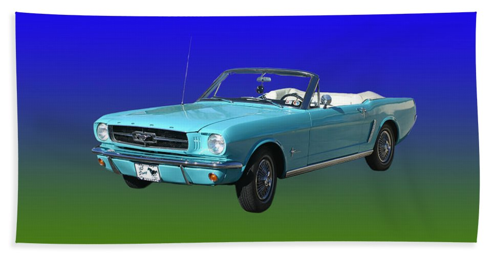 1965 Mustang Convertible Beach Towel featuring the photograph 1965 Mustang Convertible by Jack Pumphrey