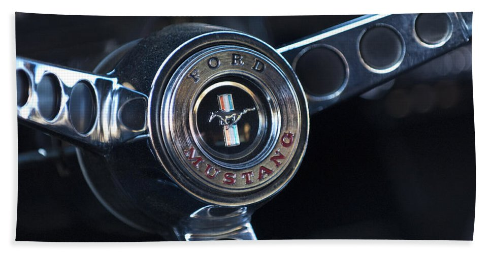 1965 Shelby Prototype Ford Mustang Steering Wheel Beach Towel featuring the photograph 1965 Shelby Prototype Ford Mustang Steering Wheel Emblem -0356c by Jill Reger