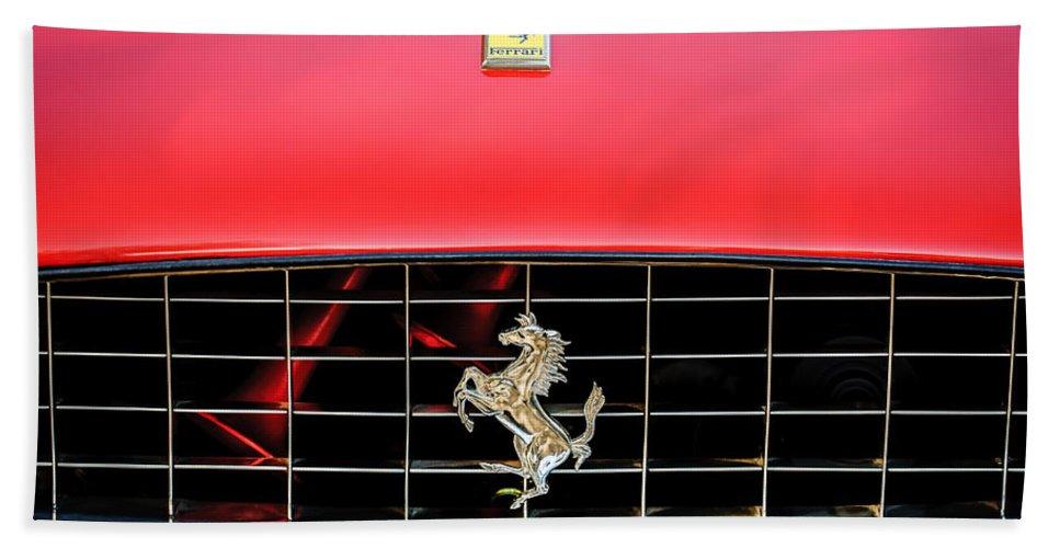 1966 Ferrari 330 Gtc Coupe Beach Towel featuring the photograph 1966 Ferrari 330 Gtc Coupe Hood Emblem -0391c by Jill Reger