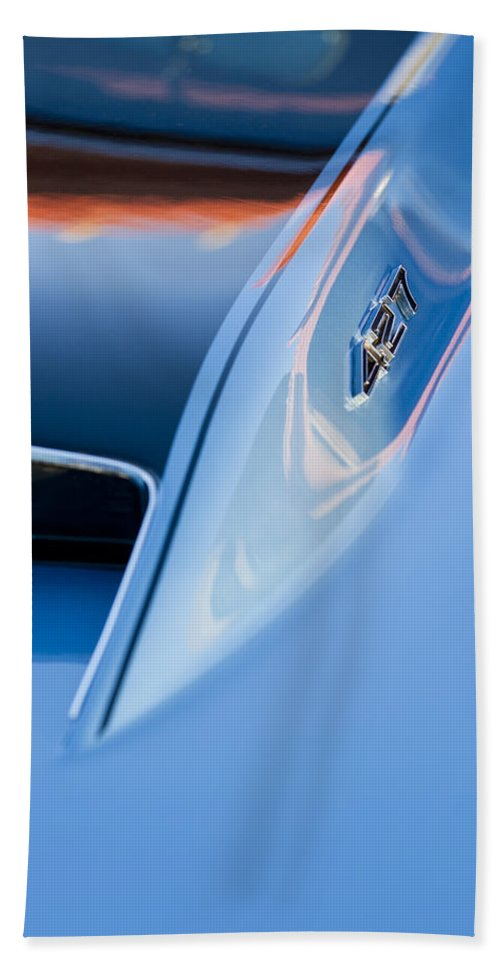 1967 Chevrolet Corvette Beach Towel featuring the photograph 1967 Chevrolet Corvette 427 Hood Emblem 3 by Jill Reger