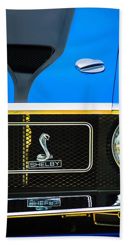 1970 Ford Mustang Gt350 Replica Grille Emblem Beach Towel featuring the photograph 1970 Ford Mustang Gt350 Replica Grille Emblem by Jill Reger