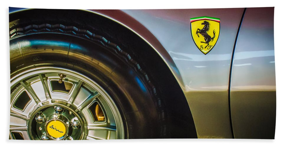 1971 Ferrari Dino Gt Wheel Emblem Beach Towel featuring the photograph 1971 Ferrari Dino Gt Wheel Emblem -027c by Jill Reger