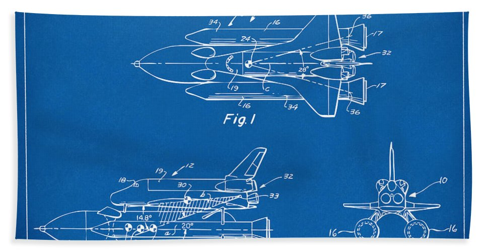 1975 space shuttle patent blueprint beach sheet for sale by nikki space ship beach sheet featuring the digital art 1975 space shuttle patent blueprint by nikki malvernweather Gallery