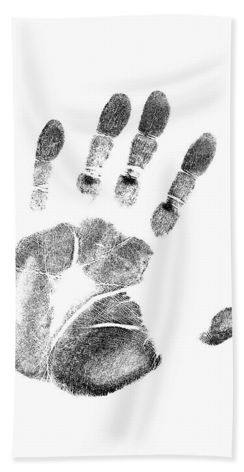 Photography Beach Towel featuring the photograph 1980s Left Hand Palm Print On White by Vintage Images