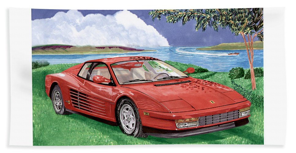 1987 Ferrari Testarosa Watercolor Art By Jack Pumphrey Beach Towel featuring the painting 1987 Ferrari Testarosa by Jack Pumphrey