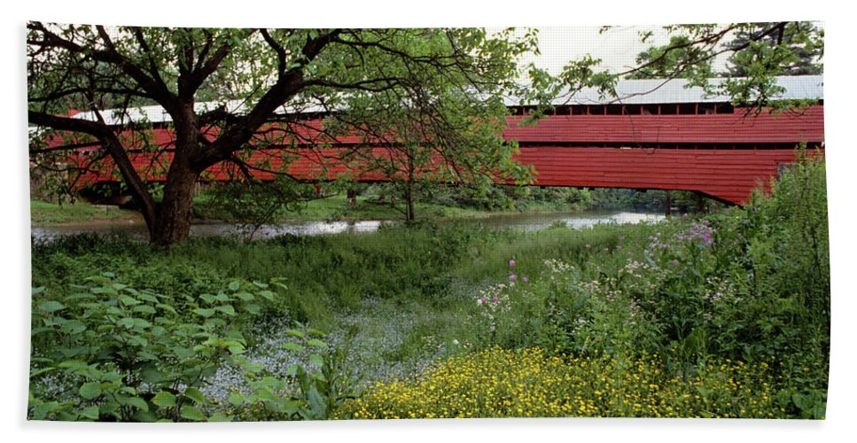 Photography Beach Towel featuring the photograph 1990s Dreibelbis Station Covered Bridge by Vintage Images