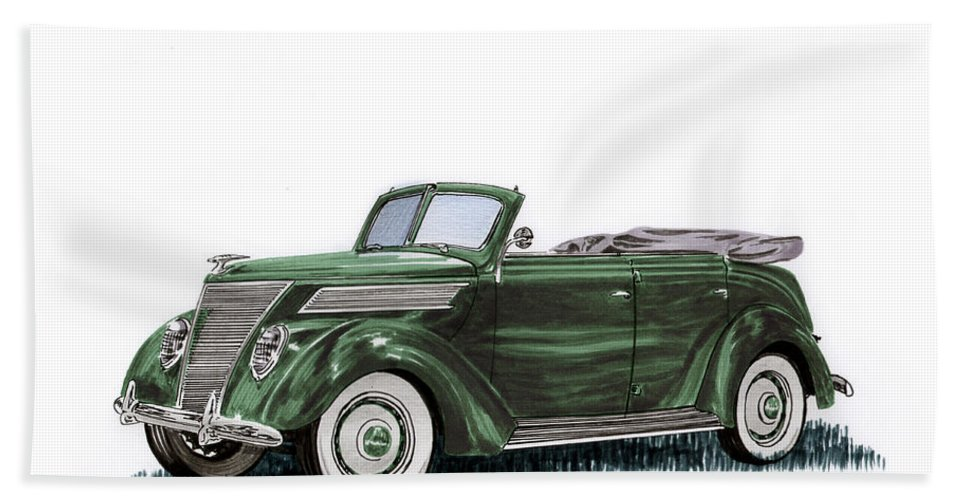 1937 Ford Featured A More Rounded Look With Fine Horizontal Bars In The Convex Front And Hood-side Grilles. The Front Grille Was V-shaped Beach Towel featuring the painting 1937 Ford 4 Door Convertible by Jack Pumphrey