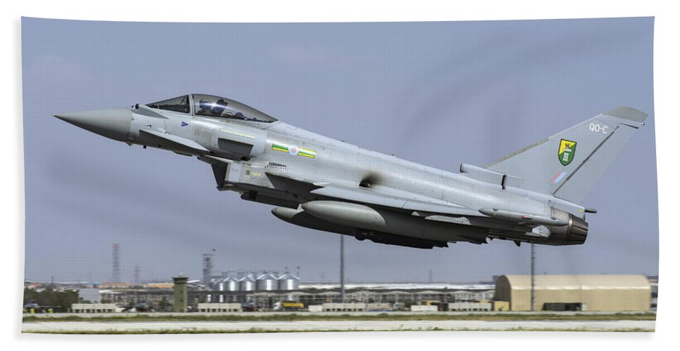 Military Beach Towel featuring the photograph A Royal Air Forcetyphoon Fgr4 Taking by Daniele Faccioli
