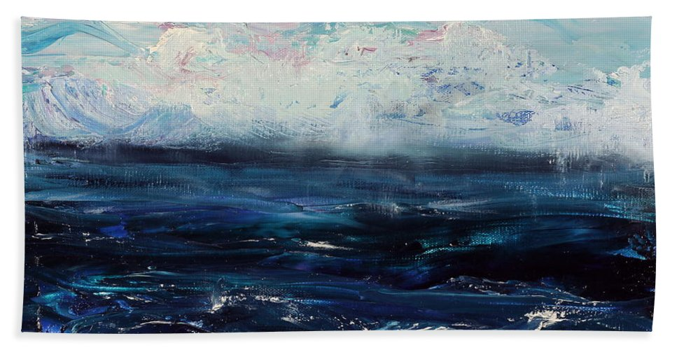 Storm Beach Towel featuring the painting Ahead Of The Storm by Regina Valluzzi