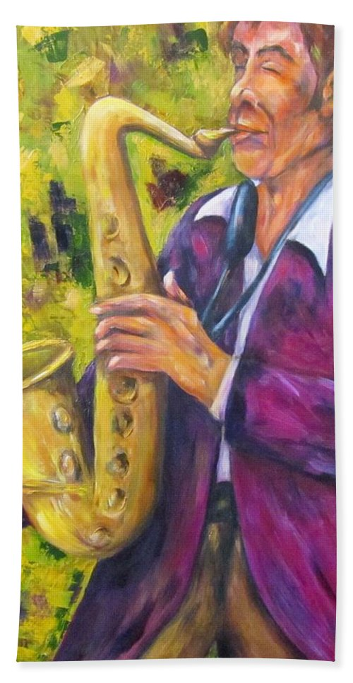 Saxophone Player Beach Towel featuring the painting All That Jazz, Saxophone by Sandra Reeves