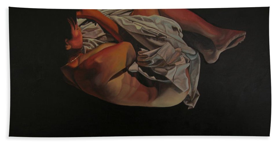 Semi_nude Beach Towel featuring the painting 2 Am by Thu Nguyen