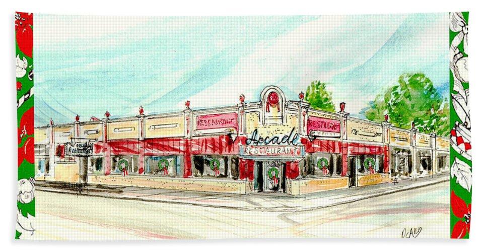 Water Color Beach Towel featuring the mixed media Arcade Restaurant Memphis by Lizi Beard-Ward