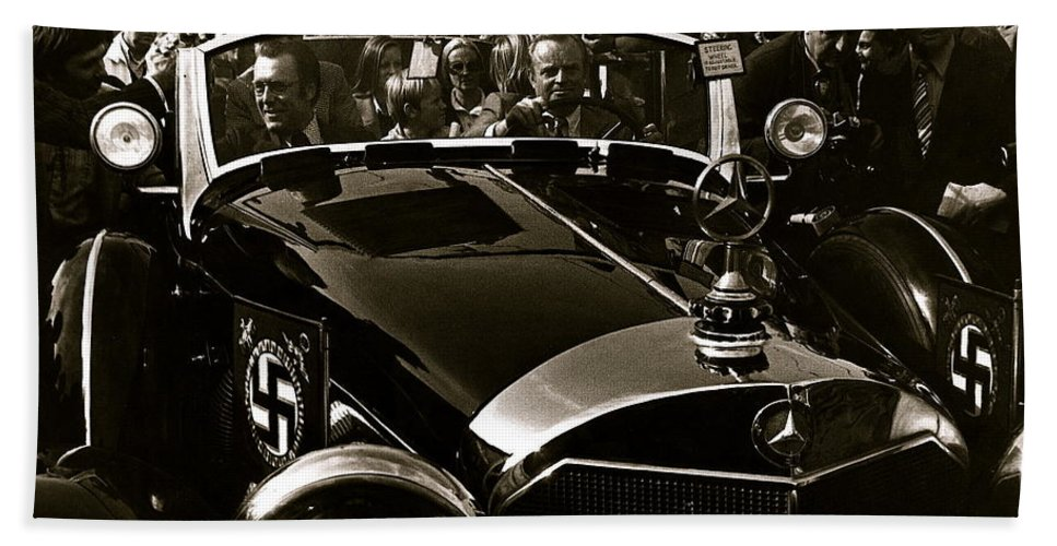 Auction Sale Last Ride Adolf Hitler's Model 770-k 1941 Mercedes-benz Touring Car Scottsdale Az 1973 Beach Towel featuring the photograph Auction Sale Last Ride Adolf Hitler's Model 770-k 1941 Mercedes-benz Touring Car Scottsdale Az 1973 by David Lee Guss