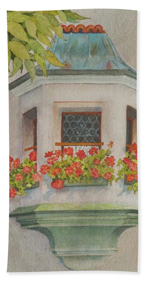 St. Wolfgang Beach Towel featuring the painting Austrian Window by Mary Ellen Mueller Legault
