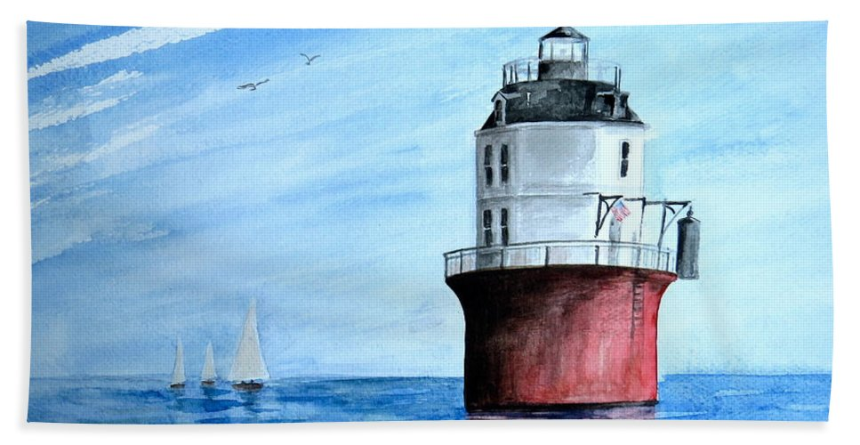 Baltimore Lighthouse Beach Towel featuring the painting Baltimore Lighthouse by Nancy Patterson