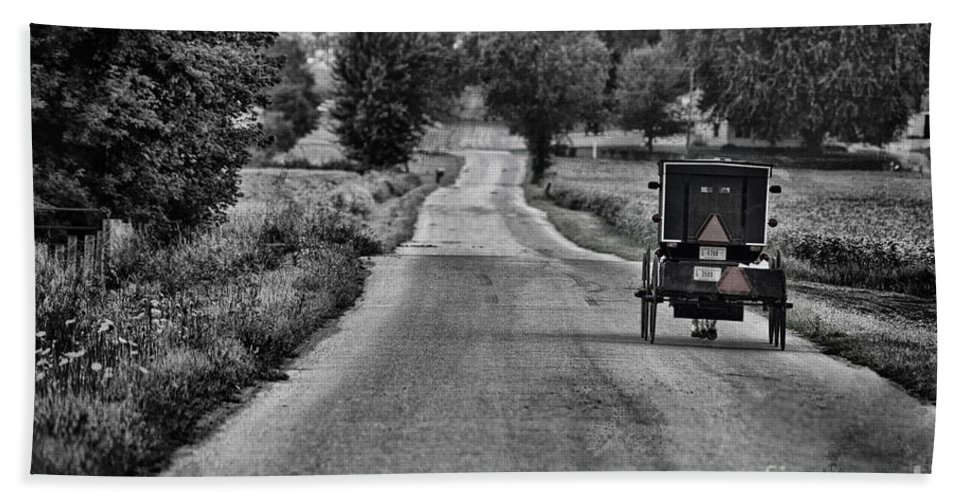 Amish Beach Towel featuring the photograph Black And White Buggy by David Arment