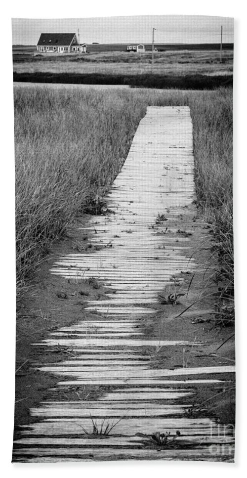 Reeds Beach Towel featuring the photograph Boardwalk Through The Dunes by Edward Fielding