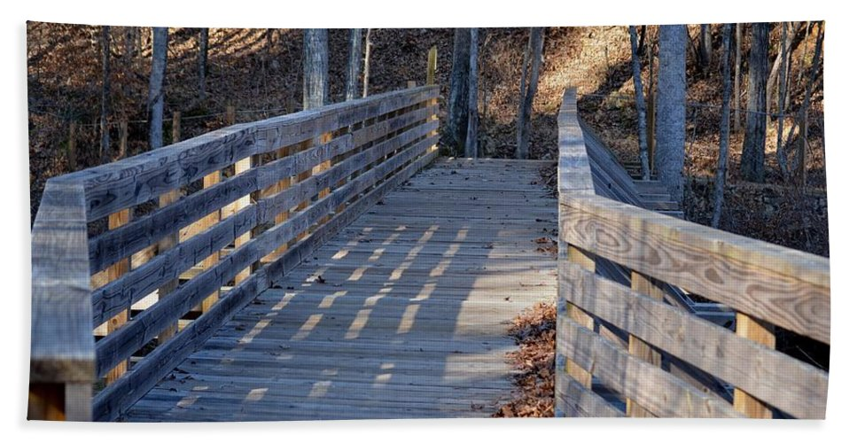 Bridge To The Forest Beach Towel featuring the photograph Bridge To The Forest by Maria Urso